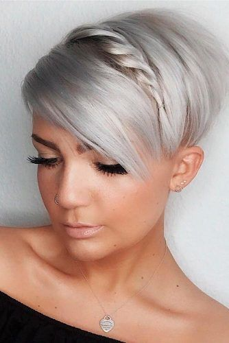 Long Pixie With Side Braid #pixiehairstyles #braidedhairstyles