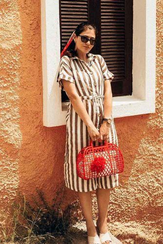 Linen Striped Summer Dress #linendress #stripeddress