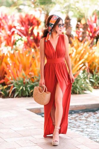 Elegant Maxi Coral Summer Dresses #maxidress