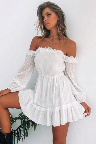 White Shoulder-Off Dress #whitedress #casualdress