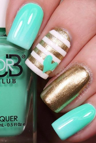 Turquoise and Gold Stripe Nails