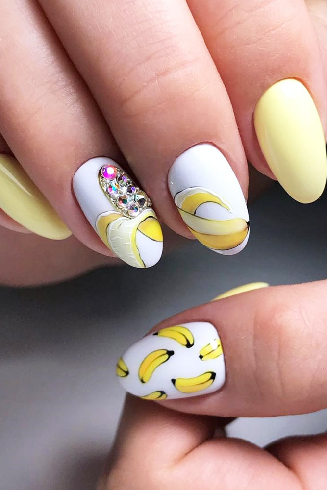 Summer Nails Design With Banana Art #banana #crystalsdesign