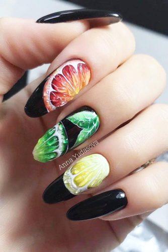 Long Almond Nails With Citrus Fruits #fruitspattern #citrusnails