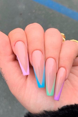 Colorful French Tips #colorfulnails #frenchtips