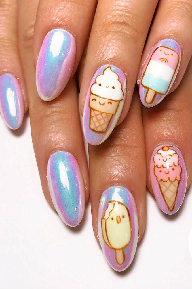 Holo Ice Cream Nail Design #holonails #icecreamnails
