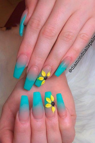 Matte Blue Ombre Nail Art #ombrenails #mattenails