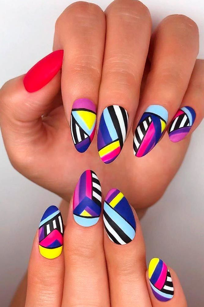Bright Colorful Nail Design #colorfulnails #brightnails