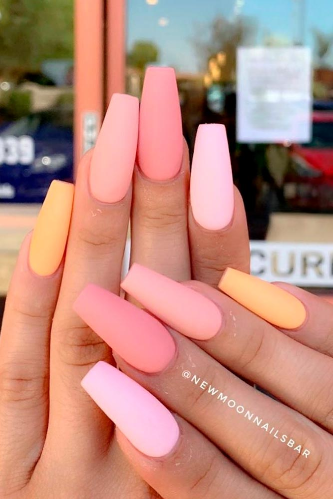 Matte Peach Nails Design #mattenails #peachnails