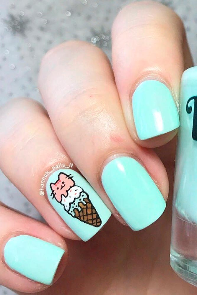 Cute Ice Cream Nail Art #icecreamnails #mintnails