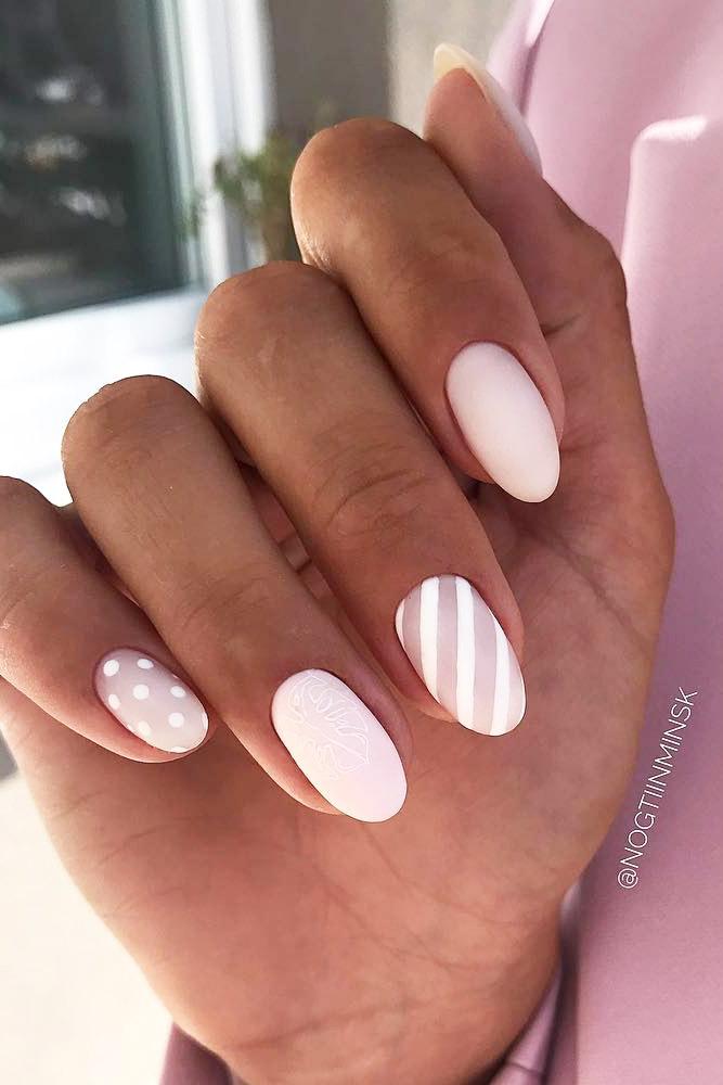Pink Matte Nails With Stripes #mattenails #stripes #dots