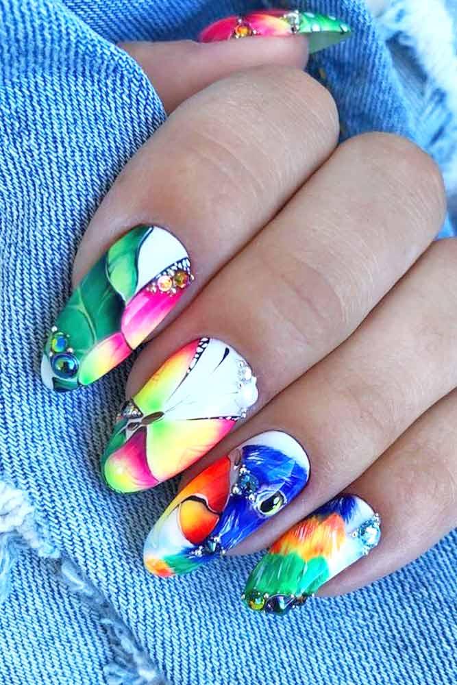 Bright Summer Nails Design For Almond Nails Shape #almondnails #brightcolors