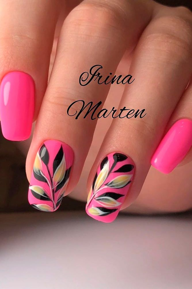 Bright Pink Summer Nails #pinknails #floralnails