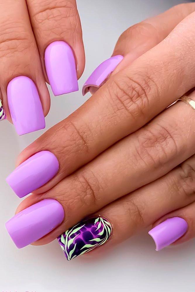 Lilac Floral Nail Art #lilacnails #floralnails