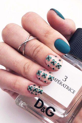 Short Nails Design With Crystals #crystals #mattenails