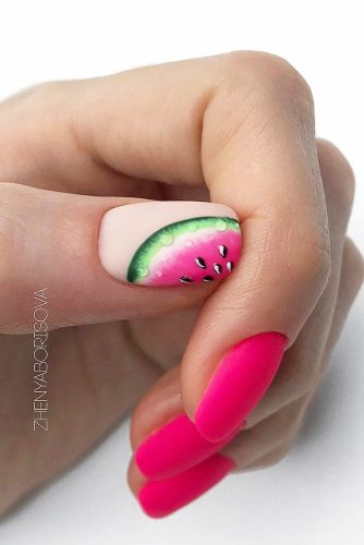 Pink Matte Nails With Watermelon Art #pinknails #mattenails