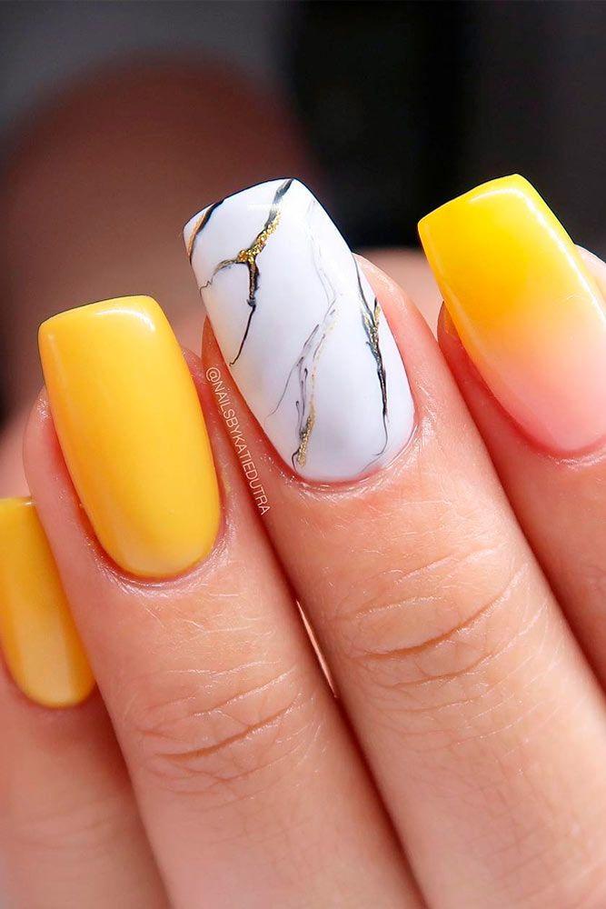 Bright Marble Nial Art #brightnails #marblenails