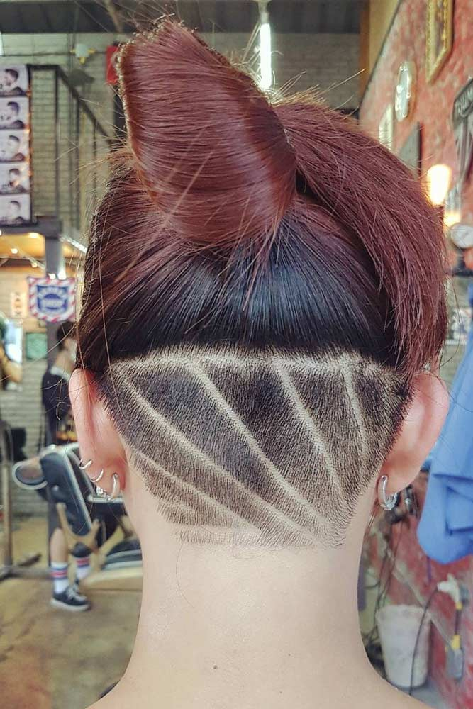 Reddish Hair + Lined Hair Design #reddishhair #hairupdo