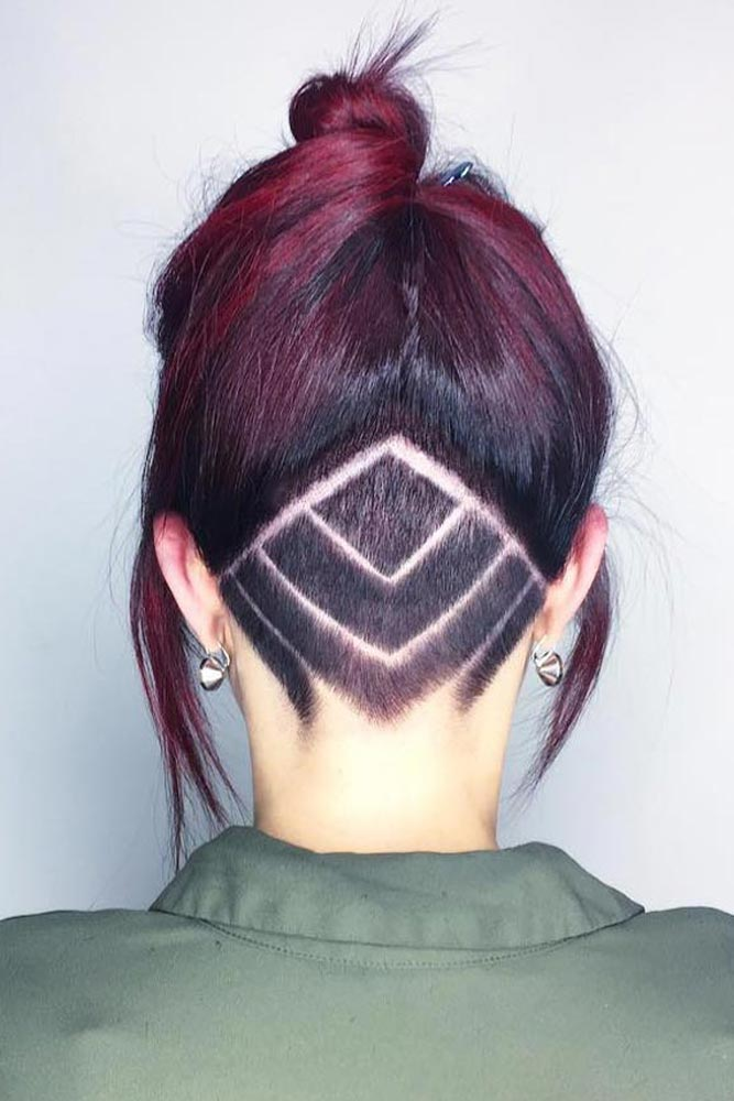 Reversed V Undercut + Plum Hair #updohair #hairtatoo