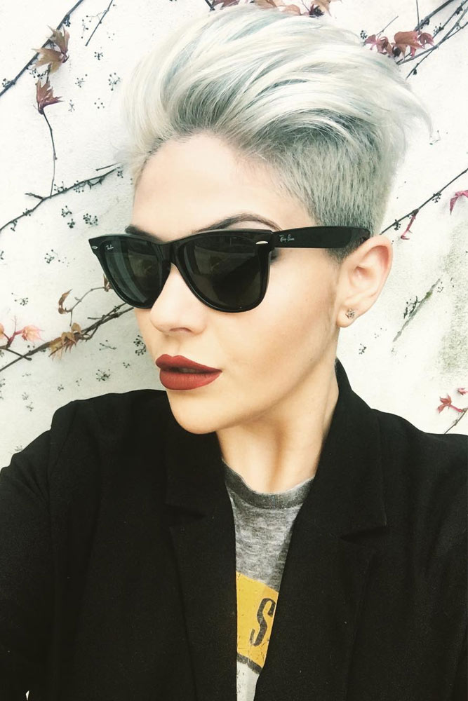 Platinum Swept-Back Undercut #shorthaircut #pixiehair