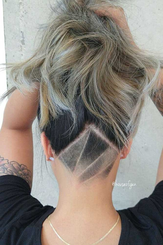 Abstract Undercut Design + Updo #hairtatoo #longhair