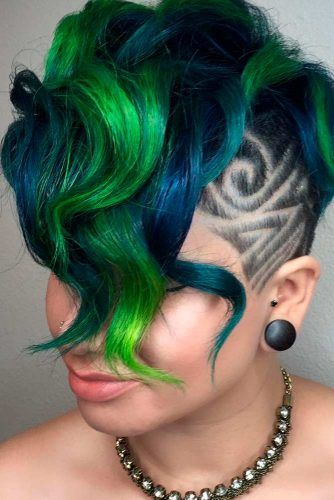 Curly Deep Part Undercut #curlyhair #colorfulhair