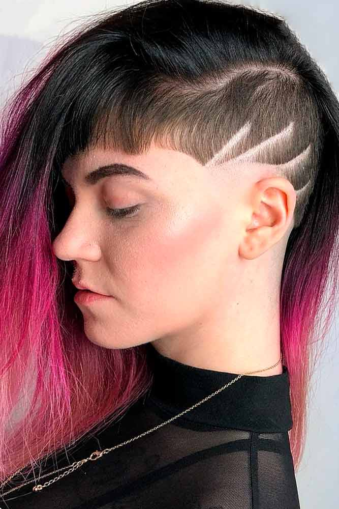 Long Hair Undercut #colorfulhair #ombrehair