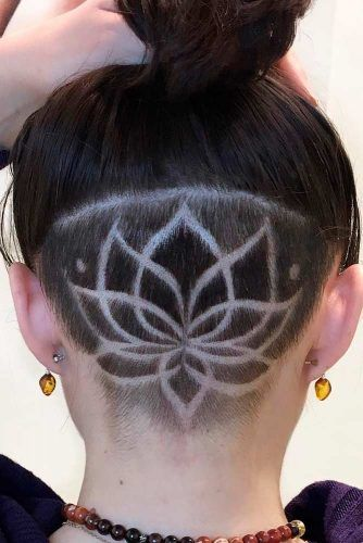 Undercut With Lotus Pattern #longhair #shavinghair