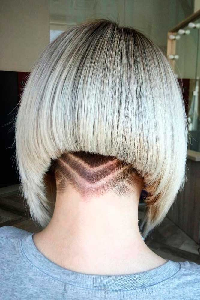 Stacked And Shaved Haircut #shavedhair #bobhaircut