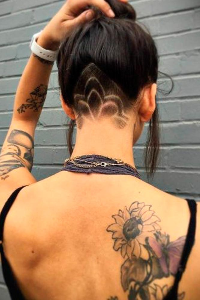 Hidden Undercut With Nape Design #longhairstyles #darkhair