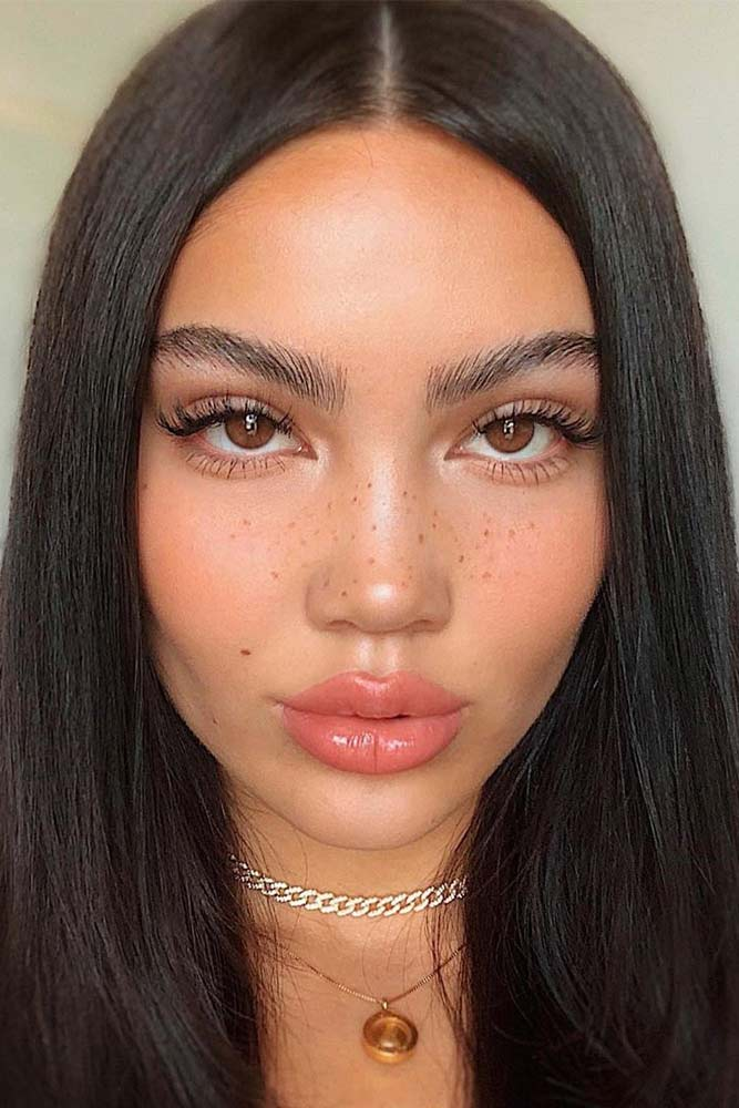 Natural Makeup With Peach Lipgloss #lipgloss