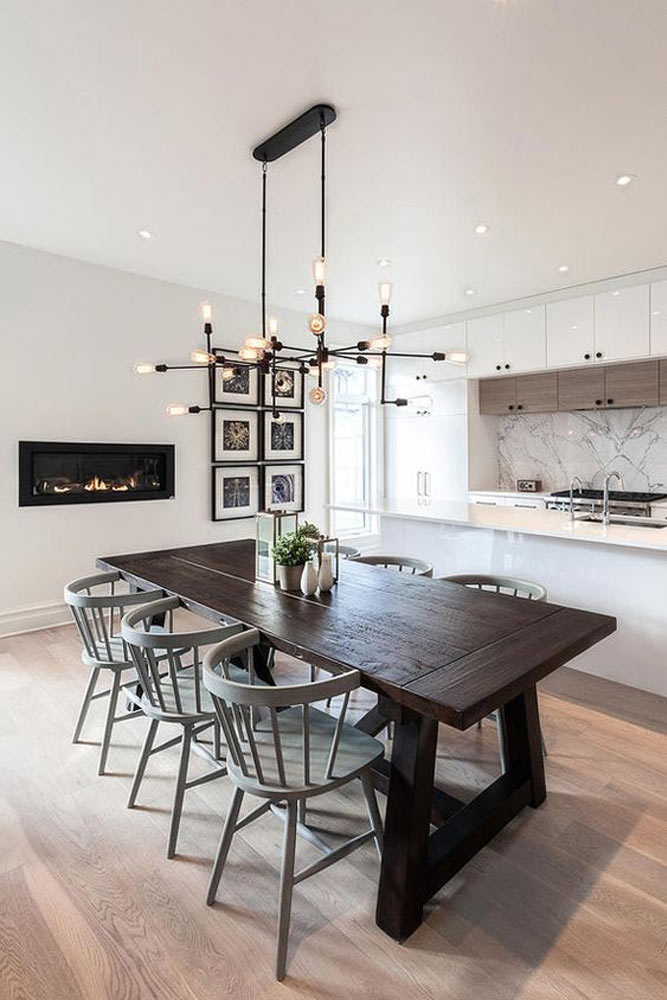 Traditional Dining Space With Fireplace Accent #fireplace #kitchen