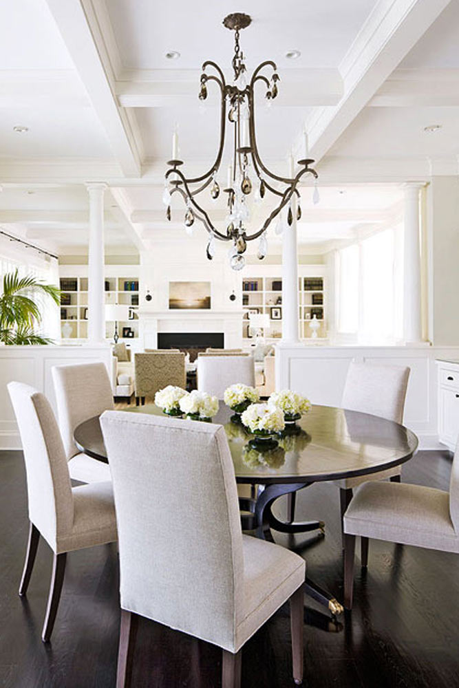 Traditional Dining Room With Round Table #roundtable