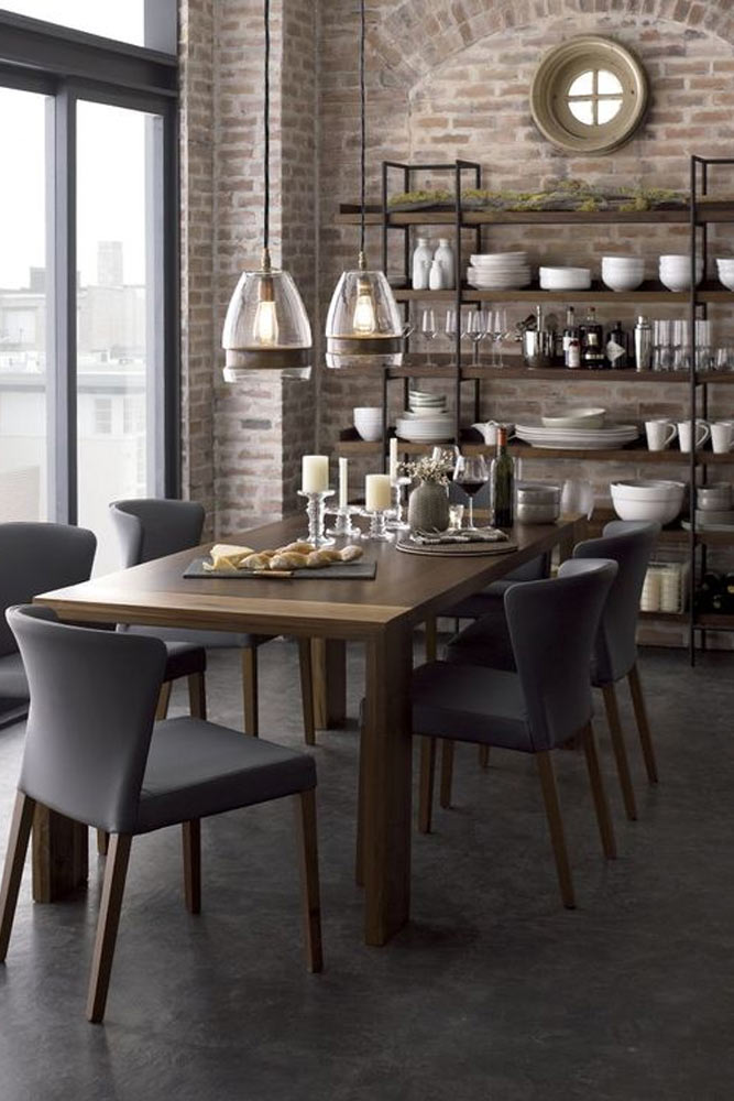 Industrial Dining Space With Kitchen Shelves Accents #wallshelves