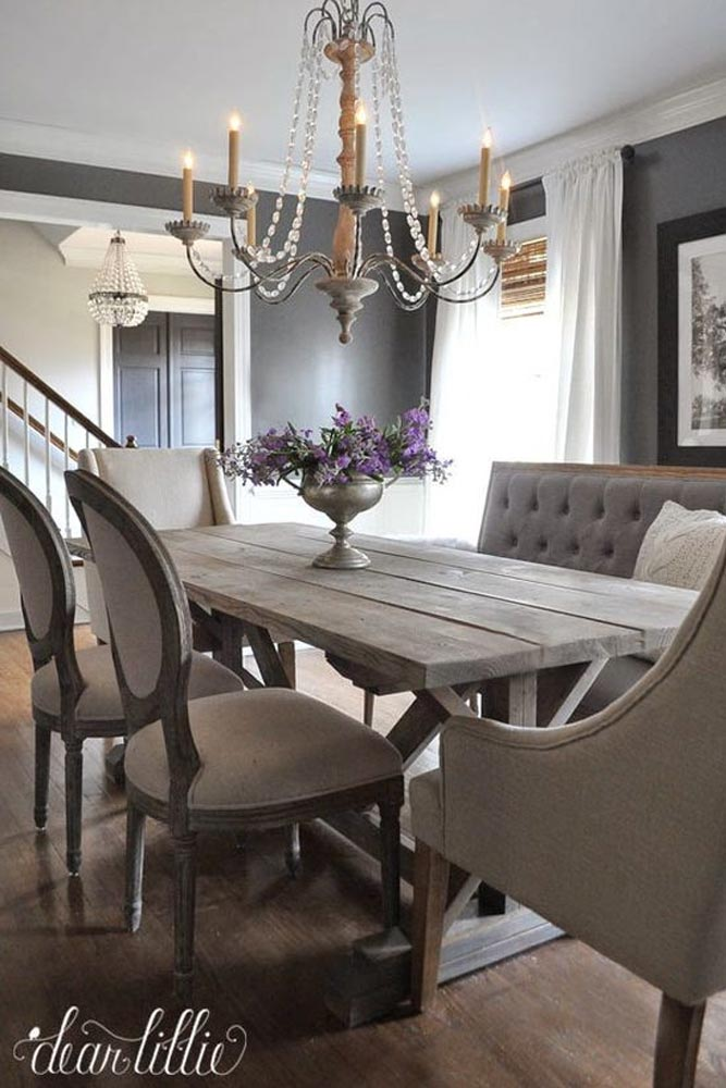 Rustic Table With Flowers Centerpiece Idea #flowerscenterpiece