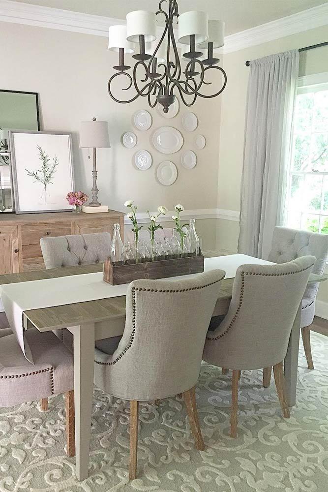 Cozy Dining Space With Bottle Centerpiece Accent #centerpiece #farmhouse