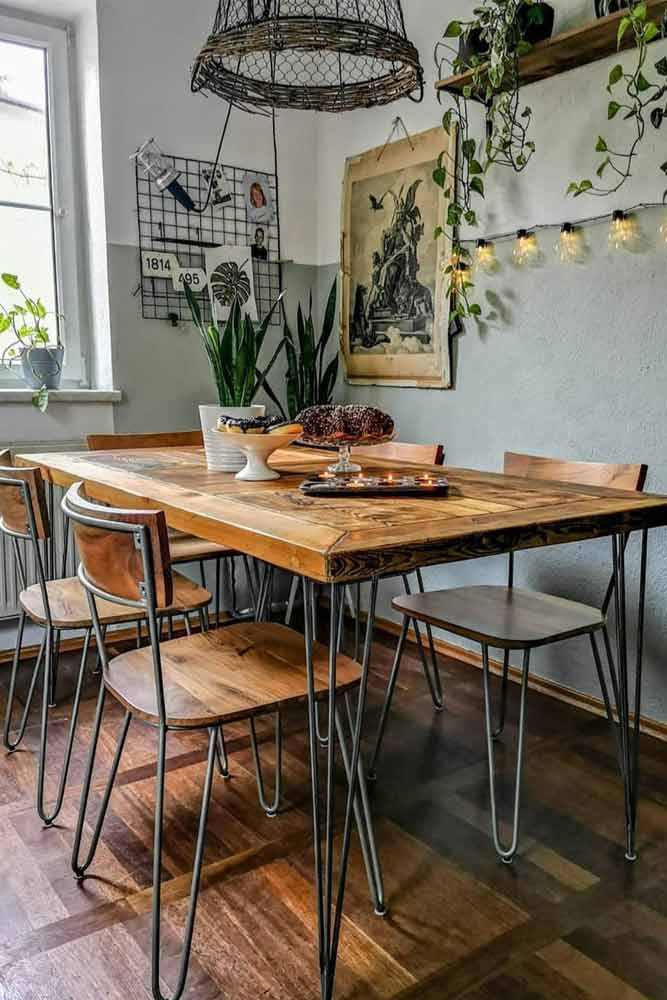 Industrial Table Set With Boho Lights Accent #industrialstyle #boholights
