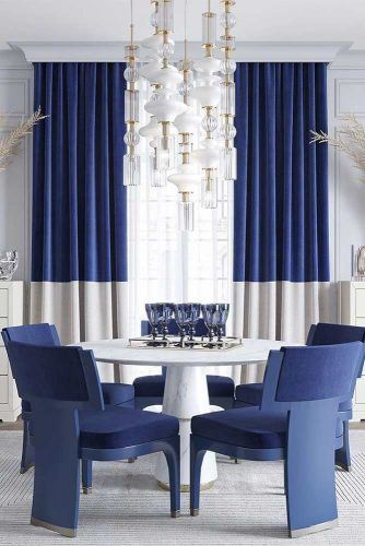 Modern White Blue Dining Room Idea #moderndinningroom