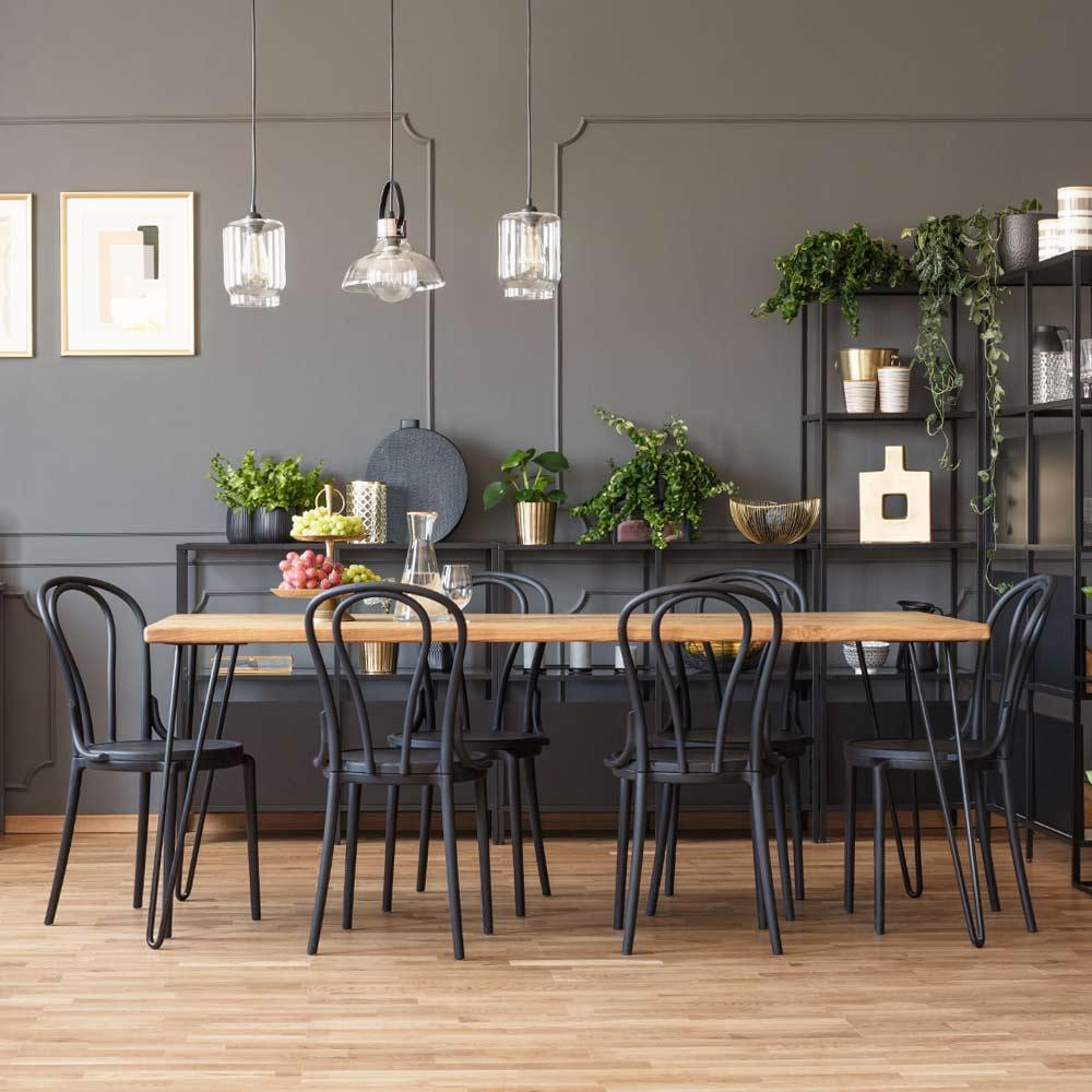 Dining Room with Dark Walls