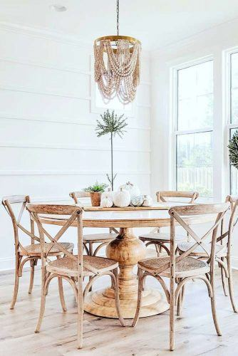 Rustic Table Set And Light Idea #rustictable #woodenchairs