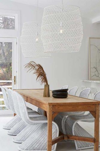 Wooden Table With White Wicker Chair And Boho Lights Idea #wickerchairs