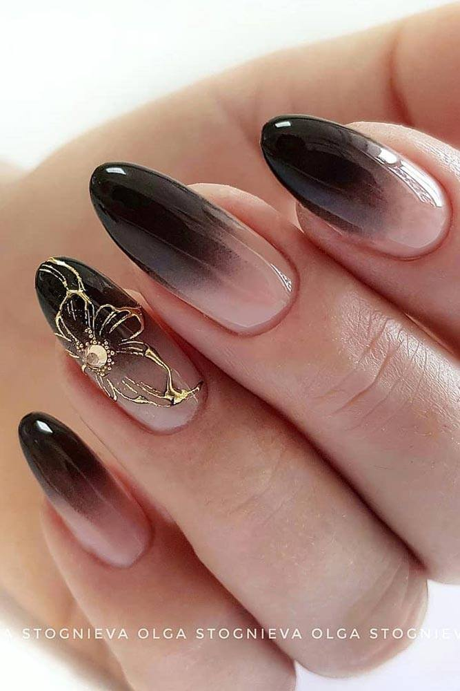 Black Ombre With Gold Floral Art #goldenflower #blackombre