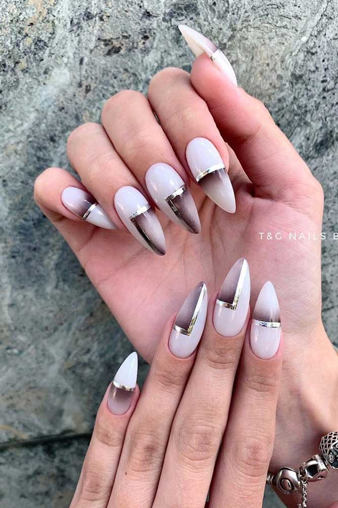 Black Ombre Accents With Silver Stripes Nails #blackombre