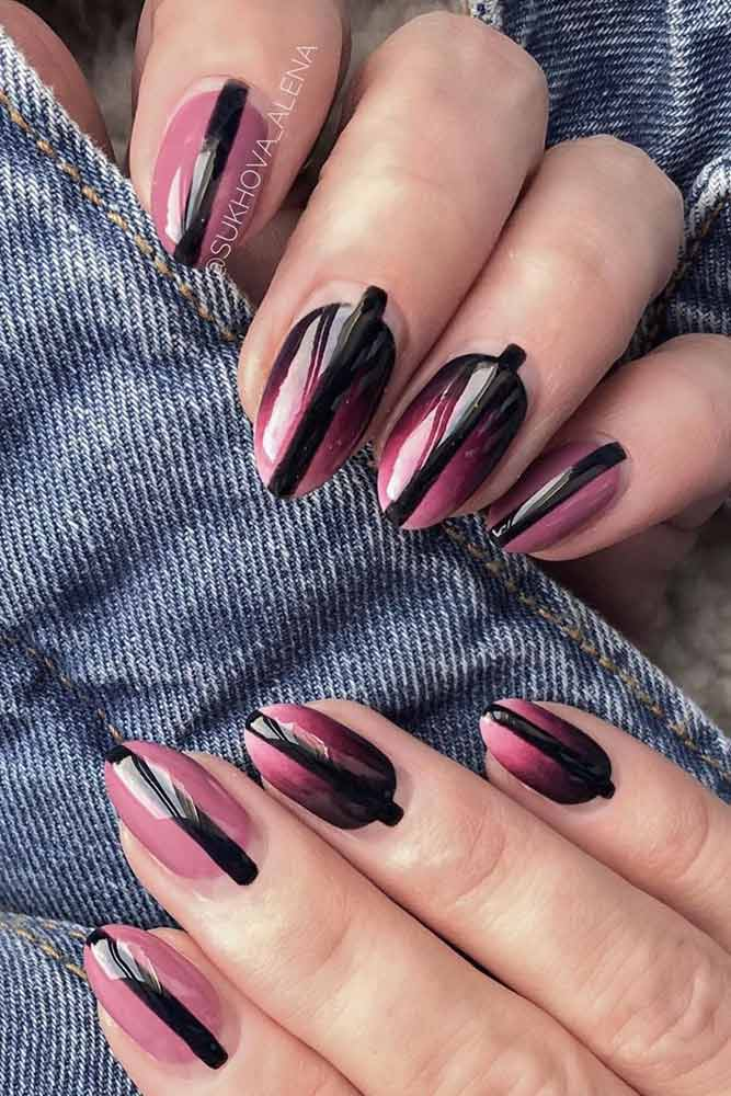 Nude Gradient Design With Black Stripes Accent #stripesnails #antifrench