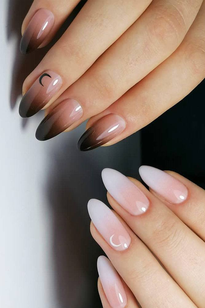 Day And Night Ombre Nails #whiteombre #blackombre