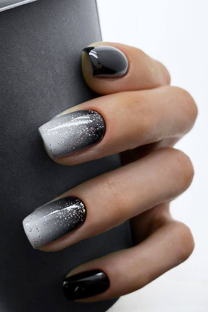 Black And White Glitter Ombre Design #silverglitter #blackombre