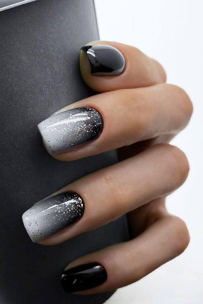 Black And White Glitter Ombre Design #silverglitter #blackombre