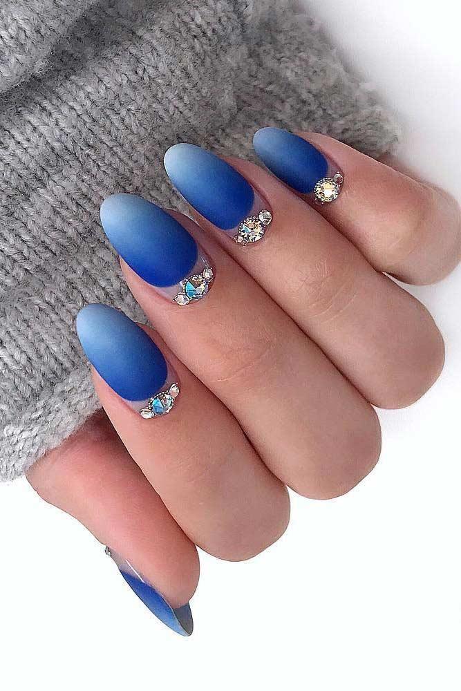 Bright Blue Ombre Nails Design #blueombre