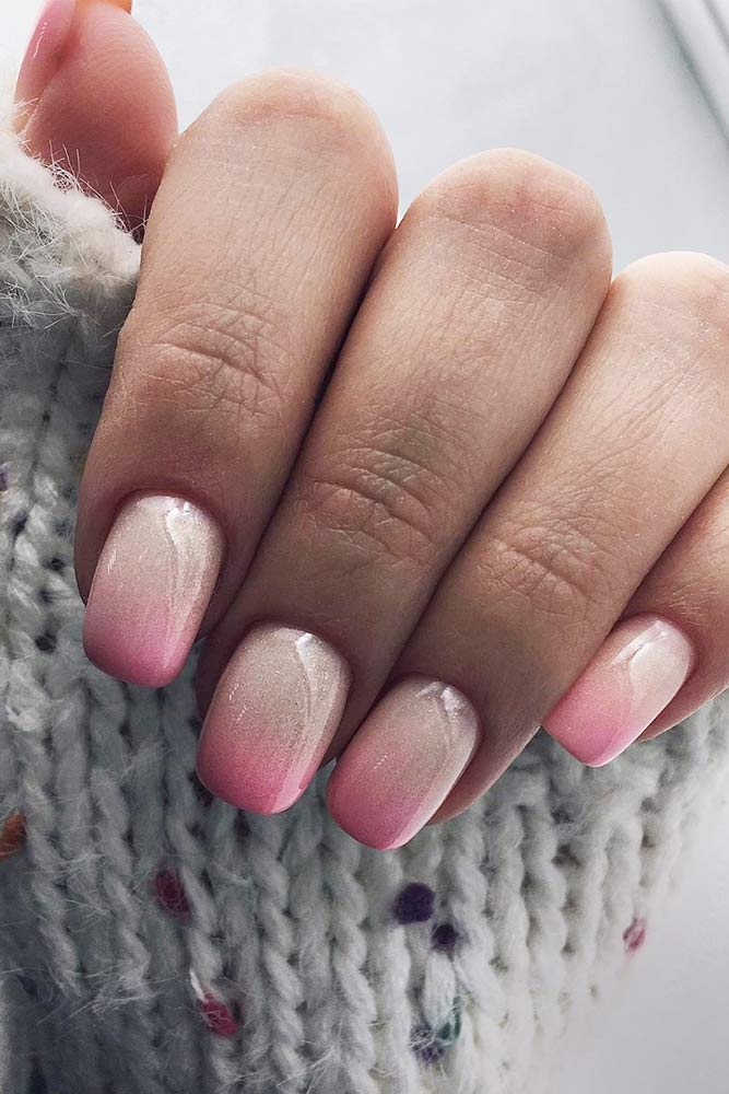 Shimmer Milk And Pink Ombre Design #pinkombre