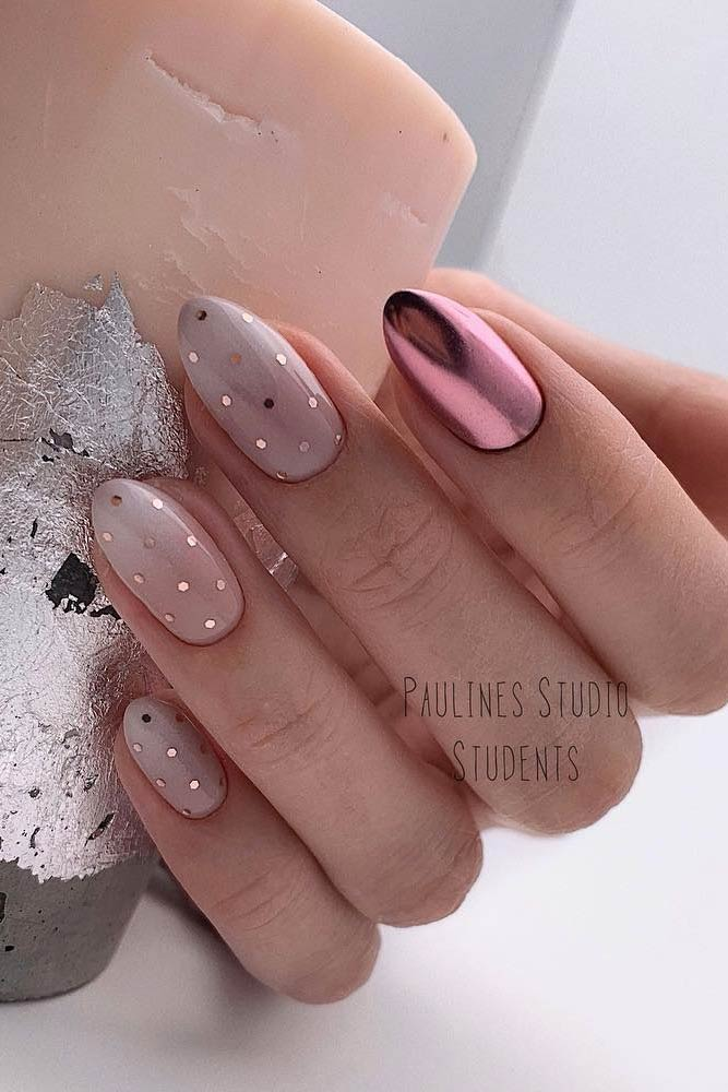 Nude Ombre With Gold Dots Accent #polkadots #pinkchrome