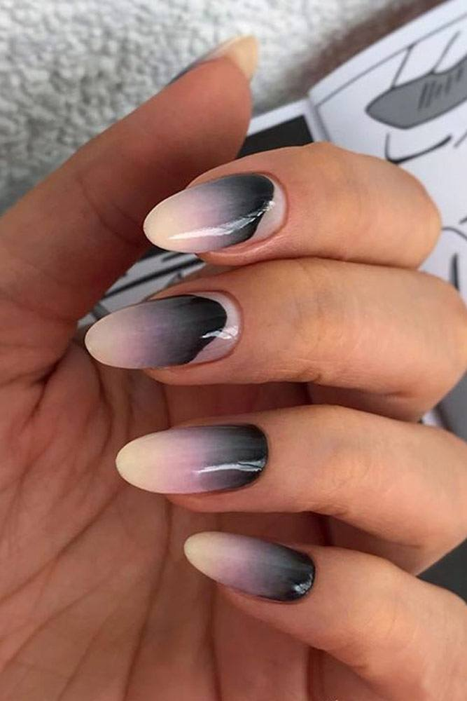 Pink And Black Painted Ombre Design #paintedombre